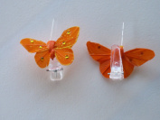 4 Butterflies on Clips and Crystal - Orange
