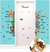 Winhappyhome Kids Wall Stickers Animals Alphabet Teaching Art Sticker for Bedroom Living Room Door Nursery Background Removable Decor Decals