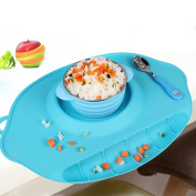 Children's placemat integrated tray silicone waterproof mat table mats baby sucker bowl sub-grid portable tableware