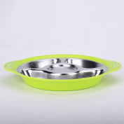 Stainless steel baby child tableware sub-grid plate separator grid baby bowl dish plate dish dish three grid points