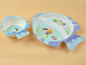 Melamine melamine children's cartoon fish ruled tray baby safe and nontoxic cutlery to eat rice bowl thickened