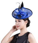 La Vogue Lady Girls Alloy Fascinator Corsage Hats Headdress Brooch Feather Hair Decor Clip Pin Blue