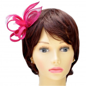 Fuchsia Pink Sinamay, Feather & Crepe Leaf & Loop Style Fascinator on Spring Clip/ Pin