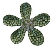 Pick a Gem Wedding Hair Accessories / Green Coated Crystal Flower Hair Clip / Flower Brooch / Bridal Accessory / Wedding Corsage