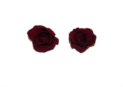 X2 BEAUTIFUL MEDIUM DARK RED ROSE HAIR CLIPS - BURLESQUE 50s DANCE FESTIVAL