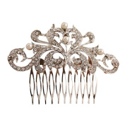 Contever® Bridal Flower Simulated Pearl Crystal Hair Side Combs for Wedding Prom Party