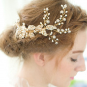 Contever® Vintage Golden Twig Simulated Crystal Pearl Side Combs Bridal Headpiece Wedding Accessories