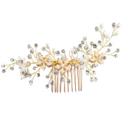 Miya 1 Mega Glamour Bridal Comb Mature Hair Comb Hair Comb with Lovely Flowers, Embellished with Pearls & Crystals - Bridal Jewellery Wedding/Confirmation (, Flower YY17
