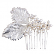 Miya 1 Mega Glamour Bridal Comb Mature Hair Comb Hair Comb with Lovely Flowers, Embellished with Pearls & Crystals - Bridal Jewellery Wedding/Confirmation (, Flower YY13