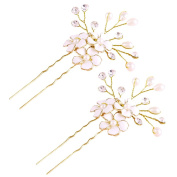 Miya 1 Pair Mega Glamour Bridal Comb Hair Comb Hair Pin with Lovely Flowers, Embellished with Pearls & Crystals - Bridal Jewellery Wedding/Confirmation (, Flower YY19