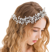 Miya 1 Mega Glamour Bridal Comb Mature Hair Comb Hair Comb with Lovely Flowers, Embellished with Pearls & Crystals - Bridal Jewellery Wedding/Confirmation (, Flower YY11