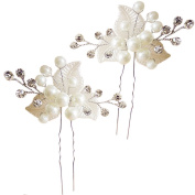 Miya 1 Pair Mega Glamour Bridal Comb Hair Comb Hair Pin with Lovely Flowers, Embellished with Pearls & Crystals - Bridal Jewellery Wedding/Confirmation (, Flower YY18