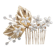 Miya 1 Mega Glamour Bridal Comb Mature Hair Comb Hair Comb with Lovely Flowers, Embellished with Pearls & Crystals - Bridal Jewellery Wedding/Confirmation (, Flower YY12