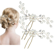 Miya 1 Pair Mega Glamour Bridal Comb Hair Comb Hair Pin with Lovely Flowers, Embellished with Pearls & Crystals - Bridal Jewellery Wedding/Confirmation (, Flower YY15
