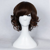 Becret Women's Short Curly Wave Synthetic hair Full Wig Fashion Synthetic Hair Wigs Dark Brown