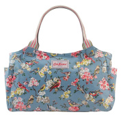Cath Kidston Oilcloth Day Bag Handbag 16SS Blossom Birds Dusty Blue