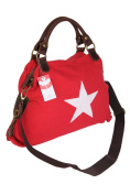 Bernstyn Lady Polarstern Real Leather / Canvas (Cotton) Handbag, Shopping Bag, Crossover Bag, RED (Red) - 4251061707902