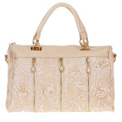 Anself Women's Retro Lace Top-handle Bag PU Leather Tote Crossbody Shoulder Bag
