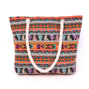 Women's Canvas Travel Geometry Stripe Pattern Tote Shopping Shoulderbag