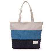 Women Fashion Stripe Canvas Shoulder Handbag Shopper Bag