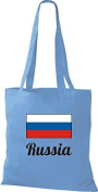 ShirtInStyle Tote bag Cotton bag Country jute Russia Russia - Light Blue, 38 cm x 42 cm