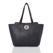 WOMEN'S NEW SIMPLE WINGED PU LEATHER MEDALLION DETAIL TOTE SHOPPER SHOULDER BAG