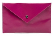 LAMARTHE Paris Portofino Envelope Bag, Genuine Premium Leather,Dark Pink; Dimensions (LxHxW)