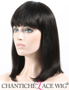 Chantiche New Style Short Bob Light Yaki Human Hair Wigs With Straight Bangs Natural Looking 100% Indian Remy Hair Glueless None Lace Replacement Wigs For Women 36cm #1B