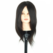 Real 100% Human Hair Cosmetology Mannequin Black Training Head with Clamp