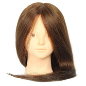 Long 46cm Half Human Hair and Half Animal Hair Cosmetology Mannequin Brown Training Head with Clamp