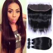 """Puddinghair Brazilian Human Hair Full Lace Wigs With Baby Hair Bundles With Closure,Straight 3 Bundles With 13*4 Human Hair Lace Front Wigs20""""22""""24""""+Closure16"""""""