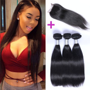 """Puddinghair Grade 7A 3 Bundles Straight Hair With 1pc Lace Closure Brazilian Hair Prices 10""""10""""10""""+Closure10"""""""