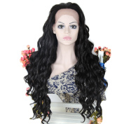 Womens Long Wavy Heat Resistant Synthetic Fibre Lace Front Black Wig Heat Resistant Cosplay Party Hair Pieces