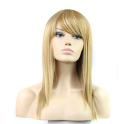 Womens High Quality Long Natural Straight 70cm Wigs Cosplay Party Synthetic Strwberry Blonde Mix Bleach Blonde Full Wigs