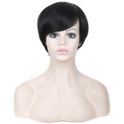 Womens Comfortable 15cm Short Natural Straight Wig Off Black Daily Life Hair Pieces