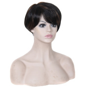 Ladies Short 28cm Straight Black Mix Auburn Brown Full Wigs High Quality Heat Resistant Synthetic Cosplay Party Hair Wigs