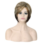 Womens High Quality Synthetic Bleach Blonde Short 30cm Hair Wig Cosplay Party Shoulder Length Wigs