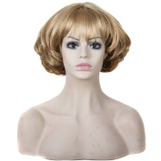 Womens Sexy Fluffy Short Curly Short 28cm 2 Tones Strawberry Blonde and Bleach Blonde Sythetic Wig Cosplay Party Hair Pieces