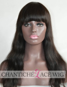 Chantiche Silk Top Spinning Hair Whorl Indian Remy Human Hair Lace Wigs For African American Women Realistic Looking Natural Straight Invisible Knots Full Wig With Bangs 46cm #1B