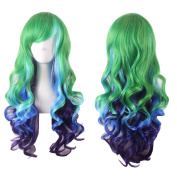 Hrph 68CM Fashion Sexy Ombre Long Curly Natural Full Wig Women\'s Cosplay Wigs Girl Gift