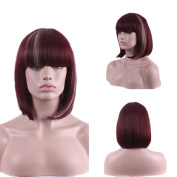 Hrph New Fashion Sexy Wine Red Neat Bangs Natural Full Wig Women\'s Cosplay Wigs Girl Gift
