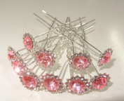 """High Quality Elegant """"Big Light Pink Stud Shape Crystal with Small Clear Crystals around"""" Diamante Wedding Bridal Prom Hair Pins 20 pins with Silver Bindi/Tattoo pack Combo by Trendz"""