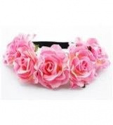 BFD One boho floral head garland flower headband floral headdress wedding festival large light pink flowers on elastic