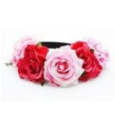 BFD One boho floral head garland flower headband floral headdress wedding festival large 2 tone pink flowers on elastic