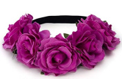 BFD One boho floral head garland flower headband floral headdress wedding festival large light plum coloured flowers on elastic