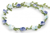 BFD One boho floral head garland flower headband floral headdress wedding festival (two tone blue).