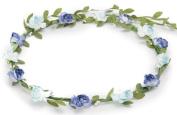 BFD One boho floral head garland flower headband floral headdress wedding festival (two tone blue).