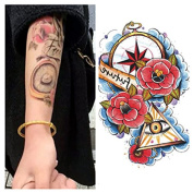 LZC 12x19cm Temporary tattoo Shoulder Arm Stickers waterproof Fashion Party Body Art Man Woman Multi Coloured Black - Triangle God All-Seeing Eye