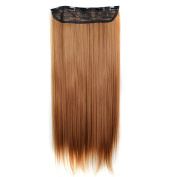 Womens Soft Long Straight 60cm Synthetic Cosplay Party Hair Pontail Heat Resistant Extensions Auburn Brown