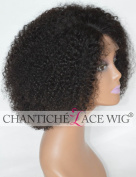 Chantiche Silk Top Invisible Deep Parting Short Kinky Curly Lace Front Wigs For Black Women Natural Looking Brazilian Remy Human Hair Full Wig With Right Part 36cm #1B